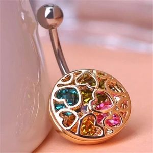 Gold MultiColor Rhinestone Heart Belly Navel Ring.